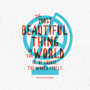The most beautiful thing in the world is, of course, the world itself. Wallace Stevens