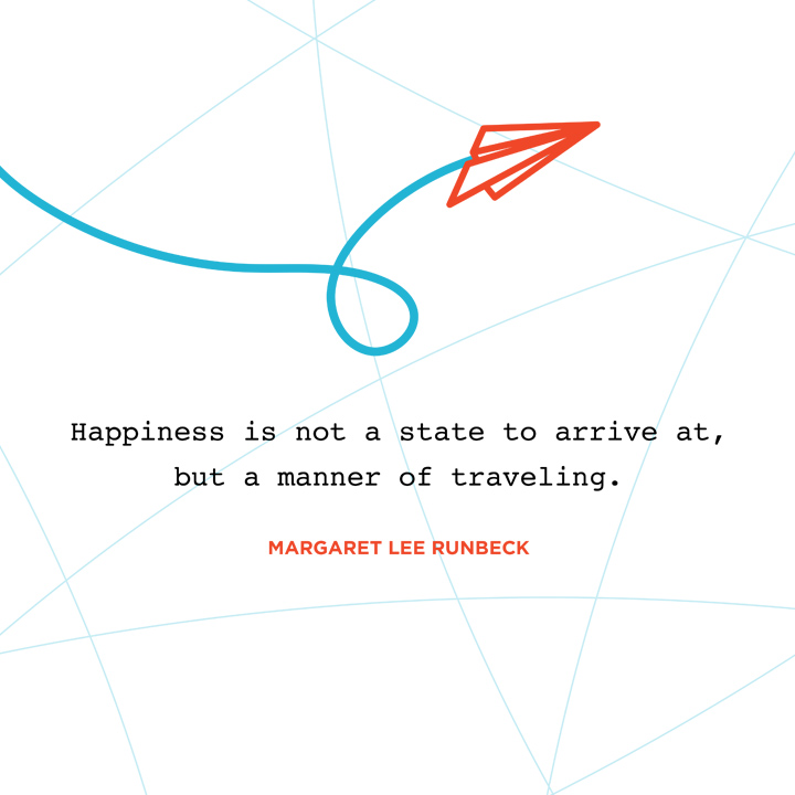 happiness is not a state to arrive at but a manner of traveling. Margaret Lee Runbeck